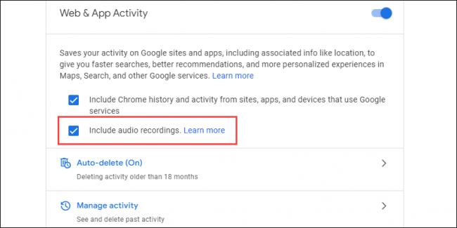 google audio recordings opt in