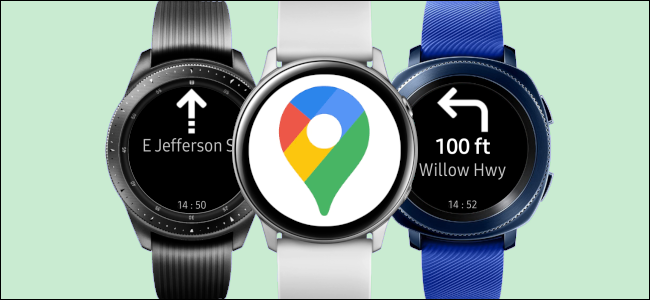 Three Samsung Galaxy smartwatches with directions from Google Maps.