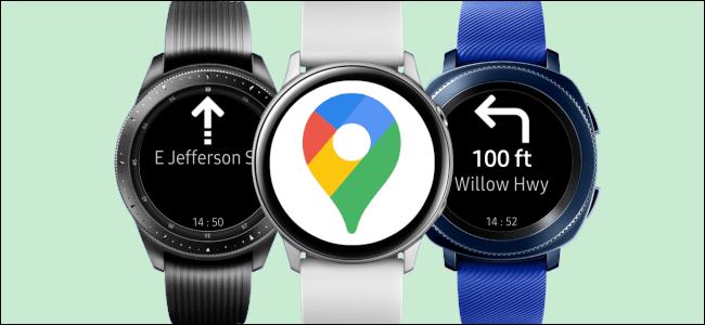 Google Maps on three Samsung Galaxy Smartwatches.