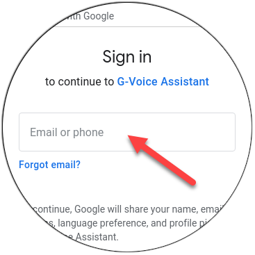 Type your Google email address.