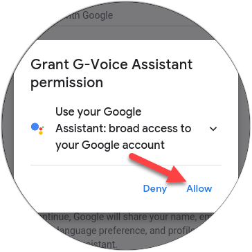 """Tap """"Allow"""" to grant the app permission to use Google Assistant."""