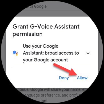 "Tap ""Allow"" to grant the app permission to use Google Assistant."