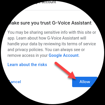 "Tap ""Allow"" to trust G-Voice Assistant."