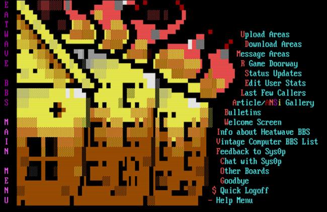 The Heatwave BBS main menu.