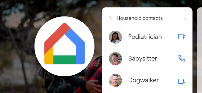 "A ""Household Contacts"" list on Google Home."
