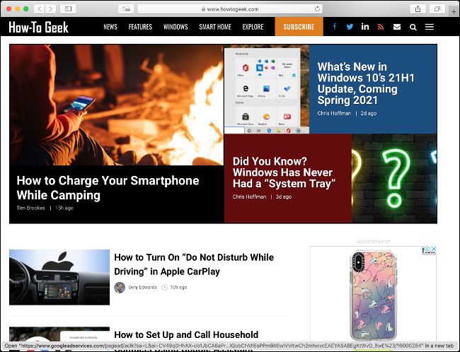 The How-To Geek home page in Safari.