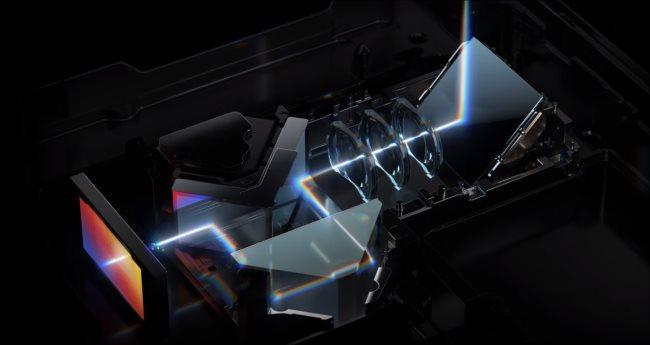 Una ilustración de las partes internas de la lente de periscopio en un teléfono inteligente Huawei P40 Pro +.