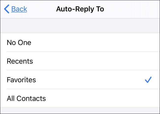 "Select Auto-Reply recipients in ""Do Not Disturb"" settings on iPhone."