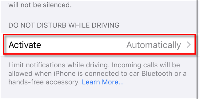 """In iPhone """"Do Not Disturb"""" settings, tap """"Activate."""""""