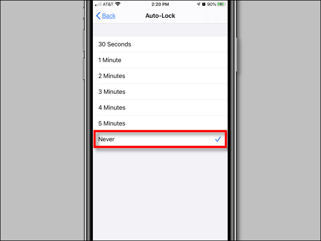 """Tap """"Never"""" in """"Auto-Lock"""" settings in iPhone Settings."""