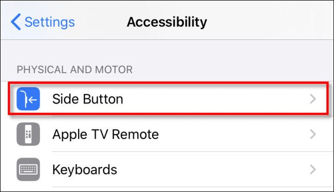 """In iPhone Accessibility settings, tap """"Side Button."""""""