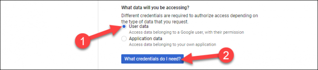 "Select ""User Data,"" and then click ""What Credentials Do I Need?"""