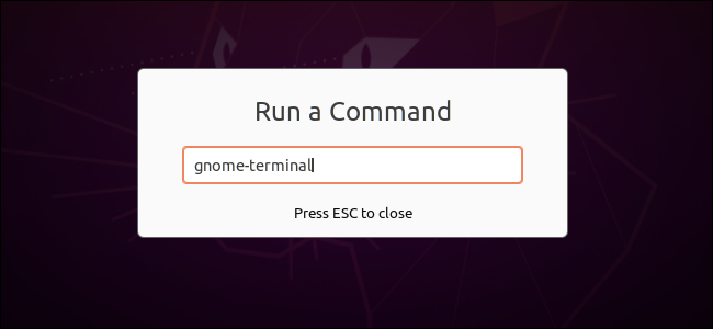 Running a command to open a terminal in GNOME's Run a Command dialog.