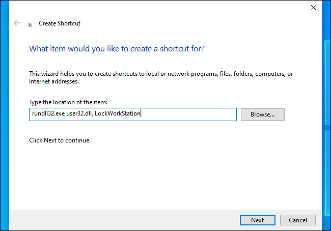 Creating a shortcut that locks the computer on Windows 10.