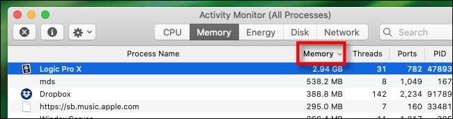 """Click the """"Memory"""" column header."""