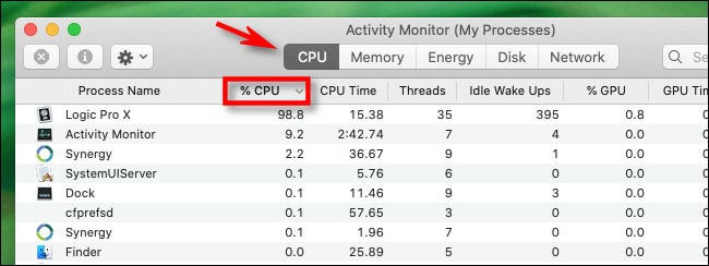 "In Activity Monitor, click the CPU tab and the ""% CPU"" column header."