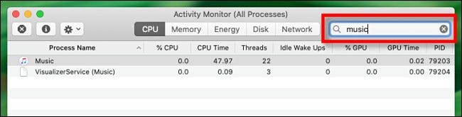 Use the search box in Activity Monitor to search for processes on a Mac.