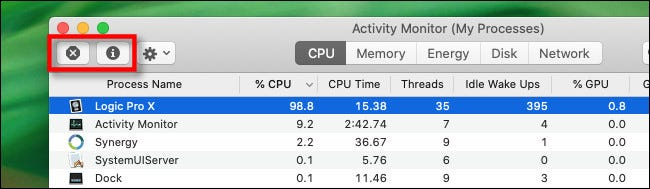 """The """"stop"""" and """"inspect"""" buttons in Activity Monitor on Mac."""