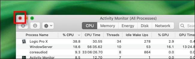 Close the Activity Monitor window on Mac.
