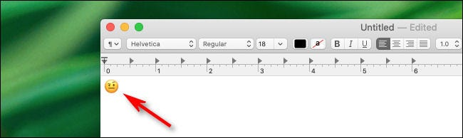 Emoji insertado en la aplicación de Mac.