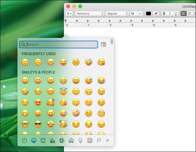Ventana del selector de emojis de Mac