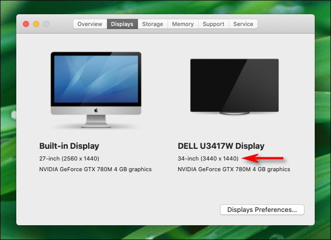 """In the """"About This Mac"""" Displays tab, you will see the resolution of your multiple monitors on Mac."""