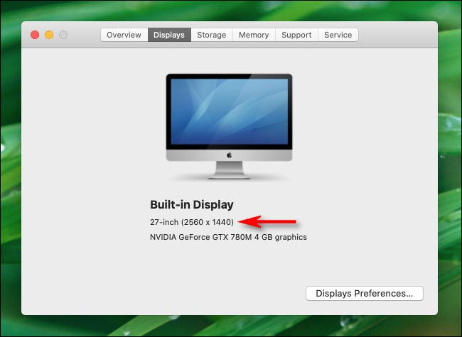 """In the """"About This Mac"""" Displays tab, you will see the resolution of your monitor on Mac."""