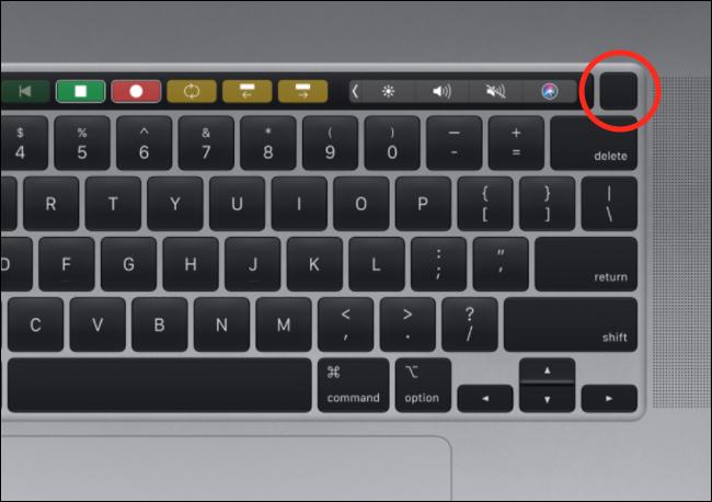 El botón Touch ID en un teclado MacBook Pro.