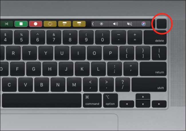 The Touch ID button on a MacBook Pro keyboard.