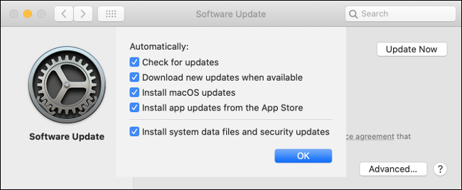 "The ""Software Update"" settings on Mac."