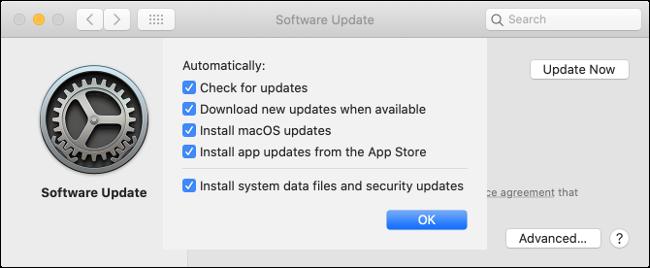 """La configuración de """"Actualización de software"""" en Mac."""