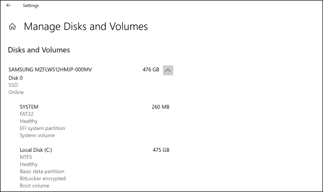 "The ""Manage Disks and Volumes"" screen in Windows 10's Settings app."