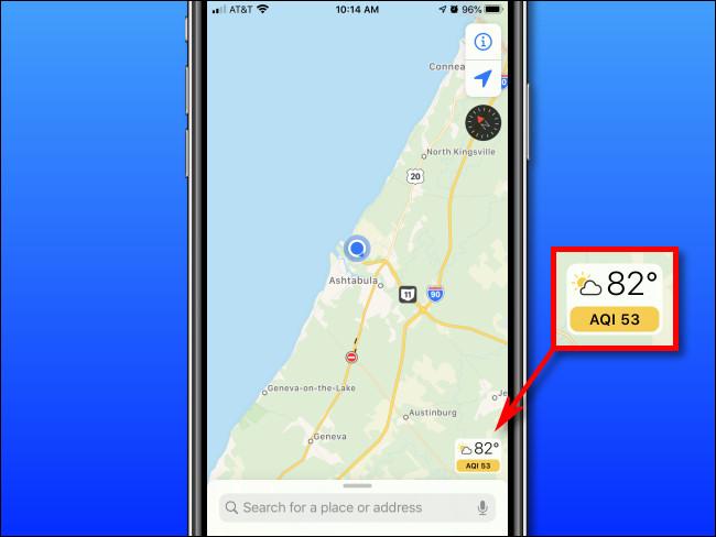 Verificando o Índice de Qualidade do Ar (AQI) em um iPhone com Apple Maps.