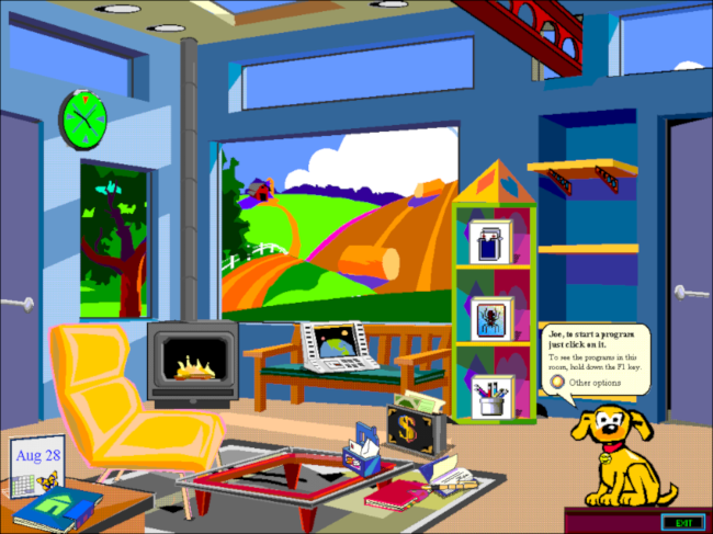 A Microsoft Bob kid's room desktop.