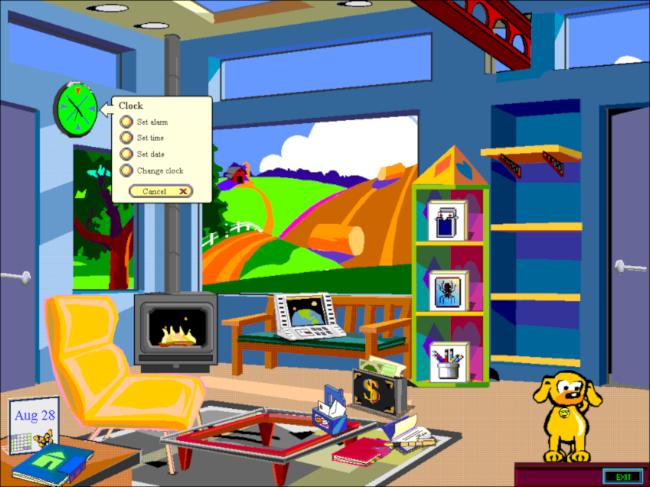 "The ""Clock"" menu on a Microsoft Bob room desktop."