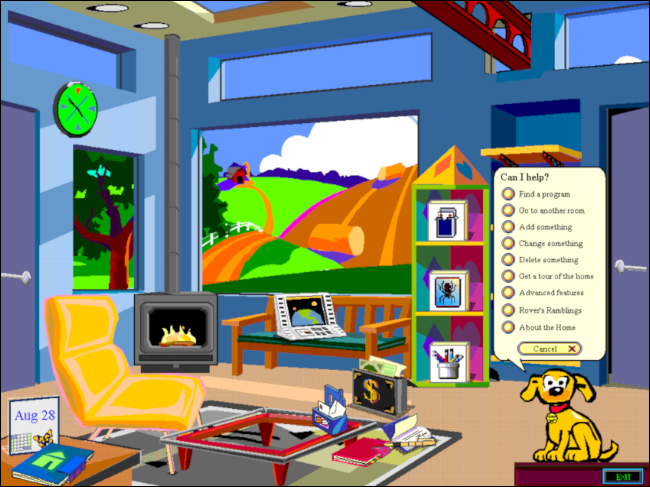 "Rover the dog's ""Can I Help?"" menu on a Microsoft Bob desktop."