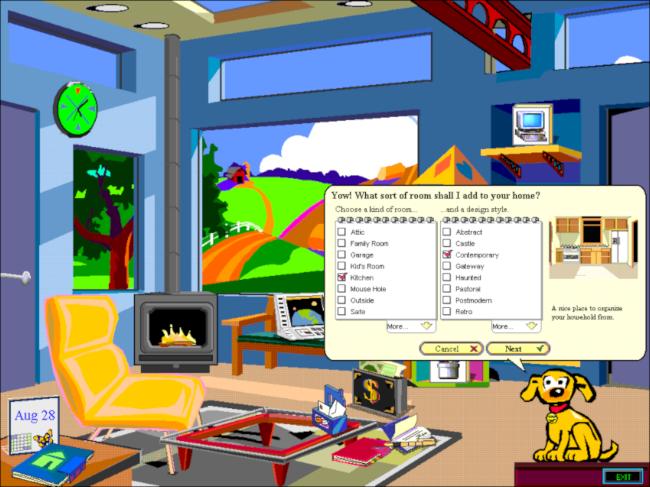 The room menu in Microsoft Bob.