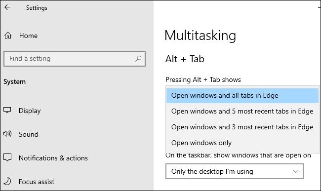 Edge Alt+Tab options under Settings > System > Multitasking.
