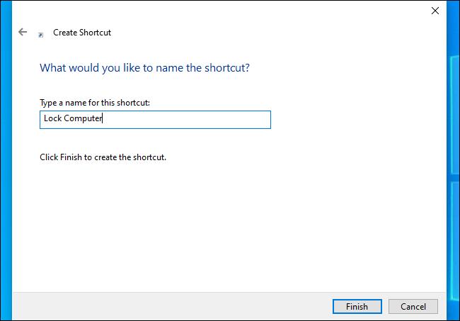 "Naming a Windows shortcut ""Lock Computer."""