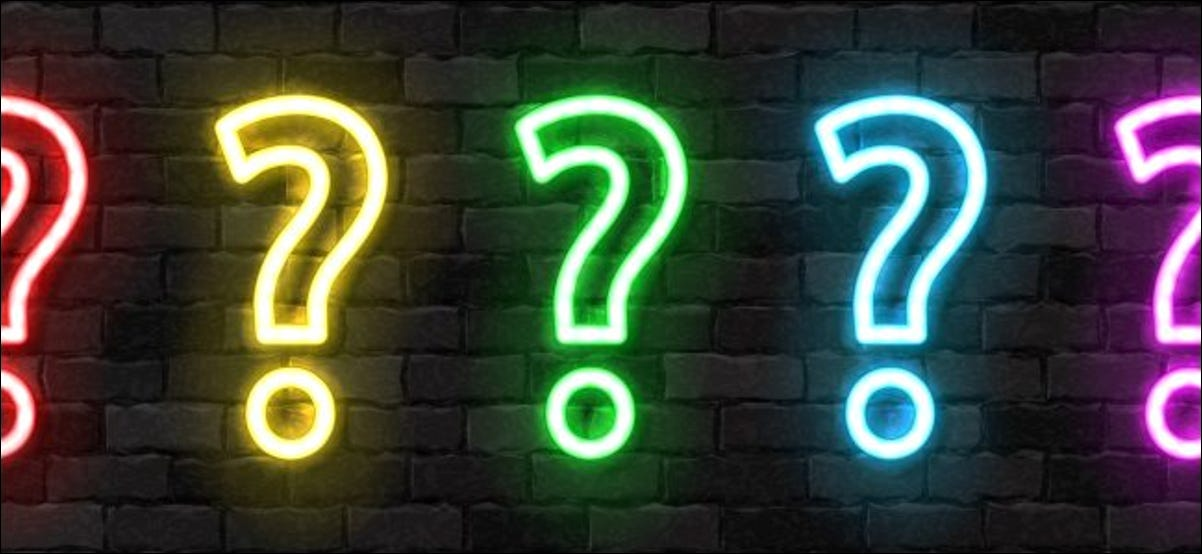 Neon question mark signs