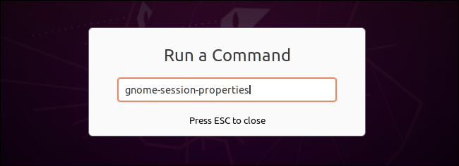 Launching gnome-session-properties from the Run a Command dialog.
