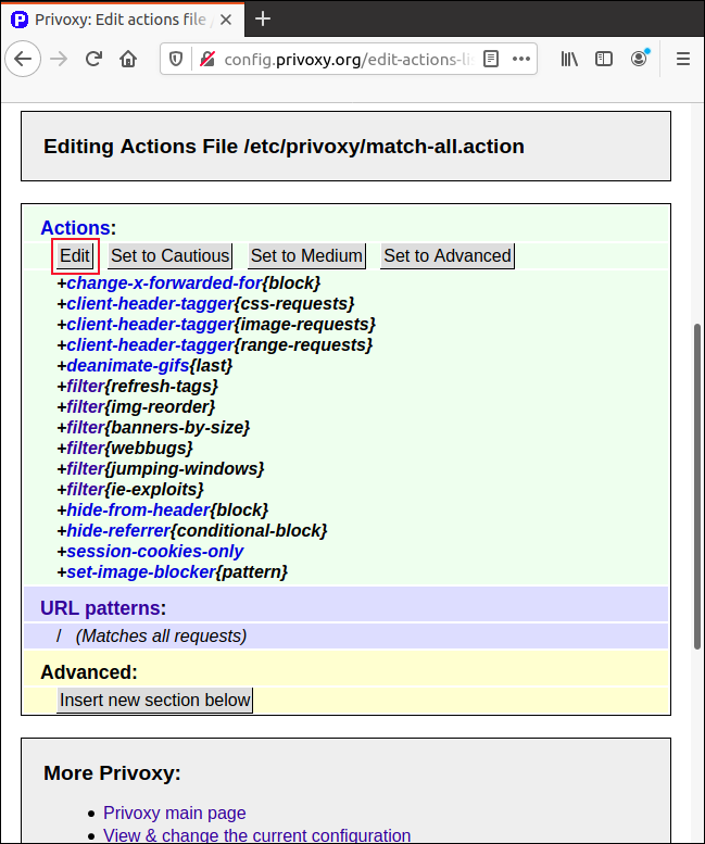 """Click """"Edit"""" in the """"Match-All.Action"""" page in Firefox to adjust parameters."""