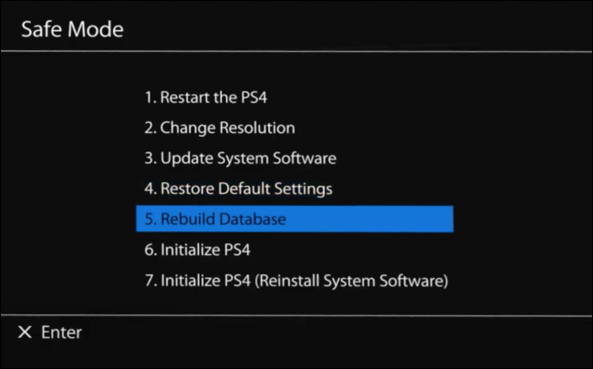"Select ""5. Rebuild Database"" in the PS4 ""Safe Mode"" menu."
