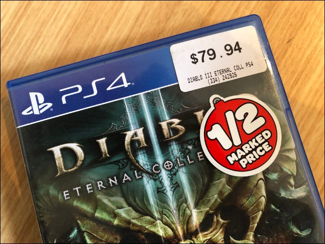 """A marked down, secondhand copy of """"Diablo III"""" for PS4."""