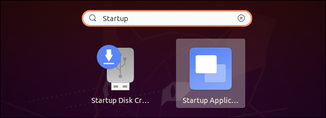 Launching the Startup Applications tool on Ubuntu.
