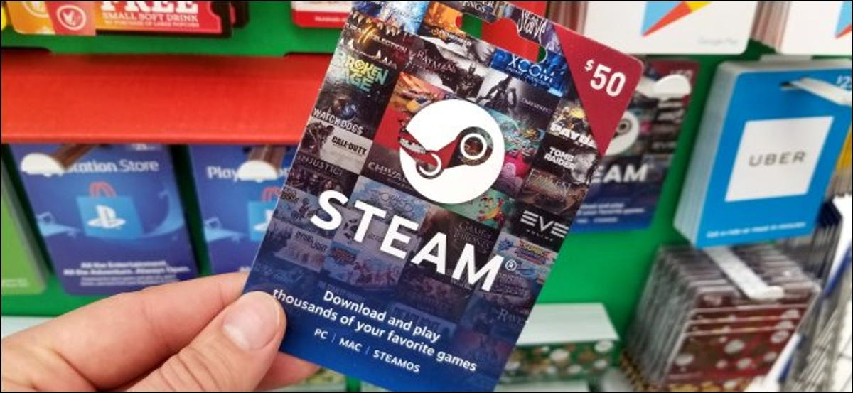 A $50 Steam gift card in a store.