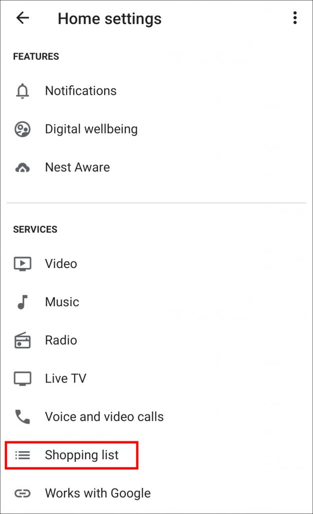 Listas de compras para el hogar de Google