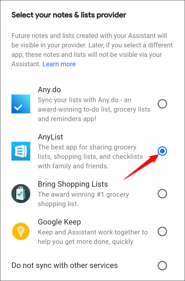 Google Assistant select anylist shopping list