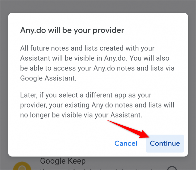 google home select shopping list app