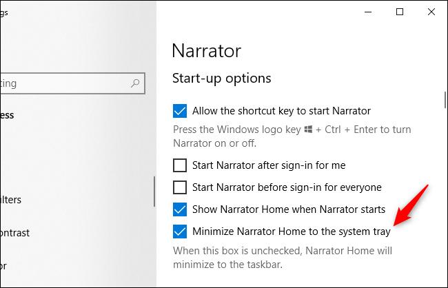 """Las opciones del Narrador de Windows 10 se refieren a una """"bandeja del sistema""""."""